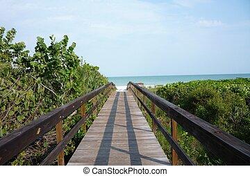 walkway, à, les, plage