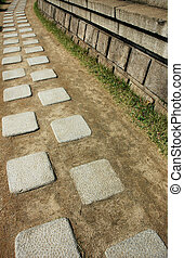 Walkway - A walkway made from granite slab in Korea