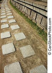 Walkway - A walkway made from granite slab in Korea