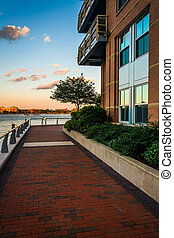 Walkway along the waterfront at Battery Wharf, in Boston, Massac