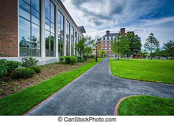 Walkway and buildings at Harvard Business School, in Boston, Massachusetts.