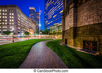 Walkway and buildings at night, at Copley Square, in Back...