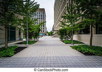 Walkway and buildings in Cambridge, Massachusetts.