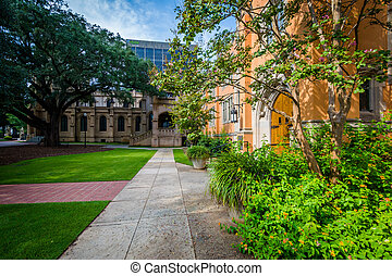Walkway and the exterior of Trinity Episcopal Cathedral, in Columbia, South Carolina.