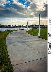 Walkway at Shoreline Aquatic Park, in Long Beach, California.