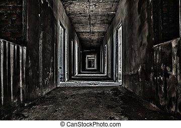 walkway, bâtiment, couloir, abandonnés, effrayant