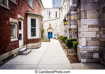 Walkway between two buildings in Harrisburg, Pennsylvania. -...