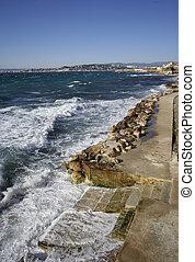 walkway calanques - a coastal walkway at the calanques, ...