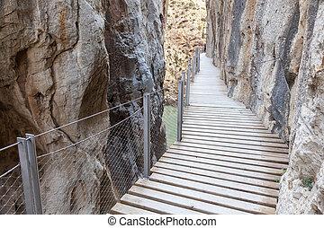 Walkway Caminito del Rey. Malaga province, Spain