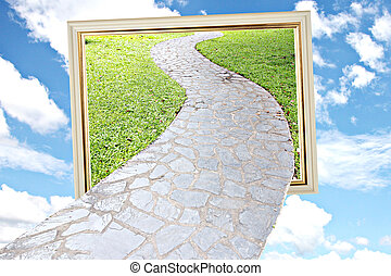 Picture frame in the middle of the sky and connected by a Walkway.