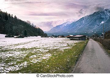 View over a walkway in Loisach Valley, Garmisch-Partenkirchen, Germany