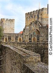 Walkway in Sao Jorge castle, Lisbon, Portugal