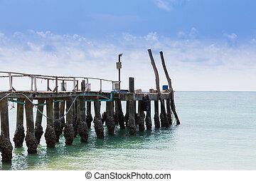 walkway, led, til, den, havet