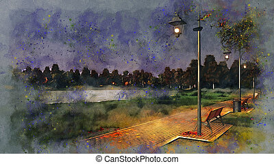 Walkway lit by street lamps at autumn night sketch