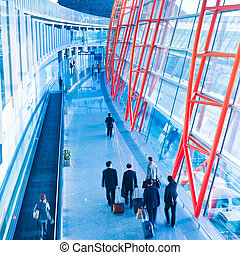 walkway of airport, passengers walking to checking at ...