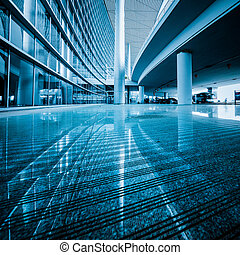 walkway of the shanghai airport, interior of the modern ...