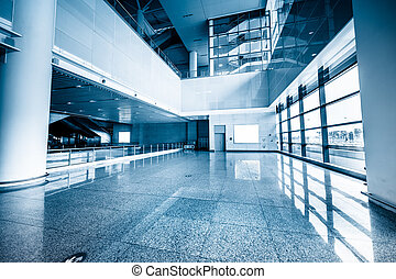 walkway of the shanghai airport,interior of the modern...