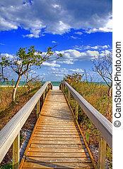 walkway, om te, de, oceaan
