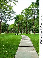 Walkway on green grassy in park