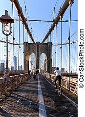 Walkway on the brooklyn bridge in New York City.