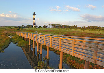 Walkway over a marsh to the Bodie Island lighthouse - Wooden...