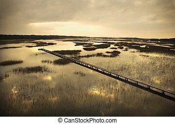 Walkway over marsh.
