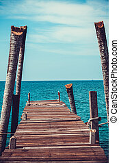 Walkway . Pier over Waters. Wooden pontoon