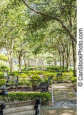 Walkway through a nice shady park on the coast of Charleston...