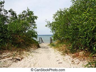 walkway, til, den, hav
