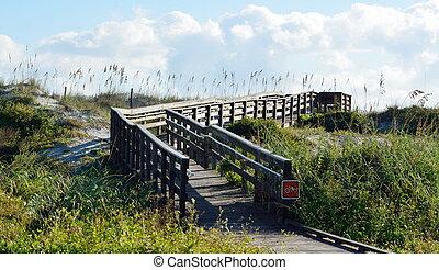 walkway, til, den, strand