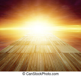Walkway - Wooden floor leading to bright sky