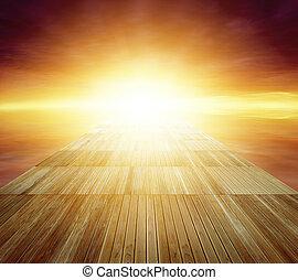 Walkway - Wooden floor leading to bright sky