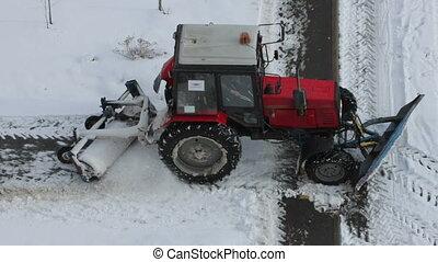 walkways, tracteur, enlever, neige