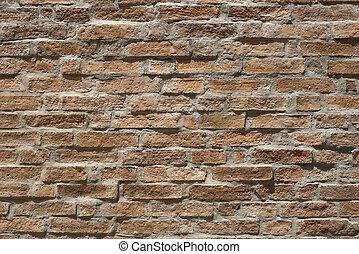 wall., öreg, tégla