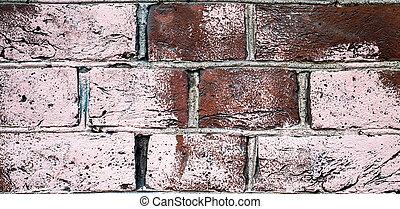 wall., すてきである, 古い, れんが, グランジ, バックグラウンド。, 型