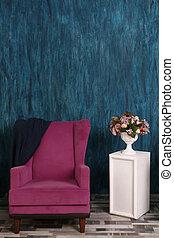 wall., つぼ, 肘掛け椅子, エメラルド, 背景, ピンクの花, デザイン, 内部