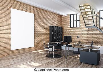 wall., afisz, opróżniać, dom biuro, nowoczesny