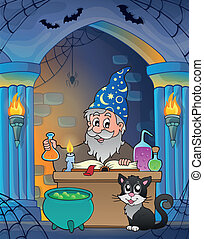 Wall alcove with alchemist - eps10 vector illustration.