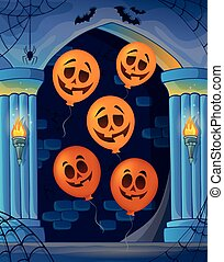 Wall alcove with Halloween balloons 1
