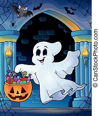 Wall alcove with Halloween ghost