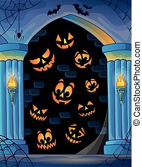 Wall alcove with Halloween topic 1