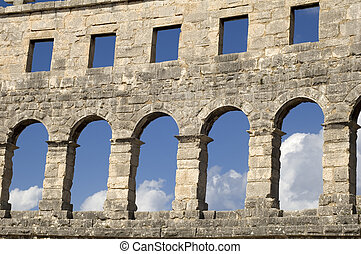 Wall Amphitheater - Roman Coliseum in Croatian city Pula...