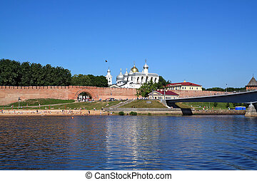 wall ancient kremlin on coast river