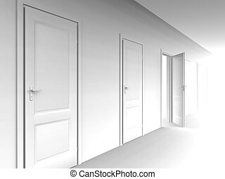 wall and opened door on a white background