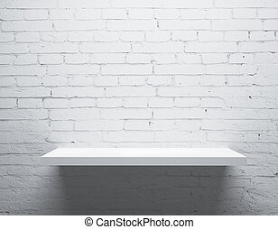 wall and shelf - brick wall and white shelf