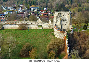Wall and Tower in Burghausen castle, Germany