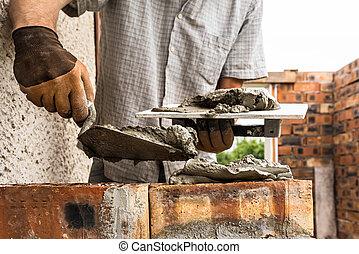 wall., arbetare, tegelsten läggande