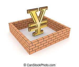 Wall around golden yen symbol.