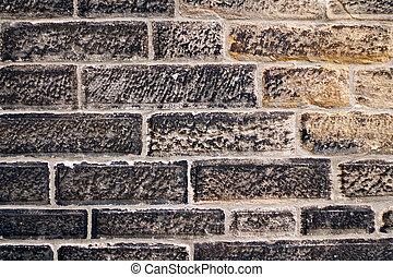 The pattern of black brick wall