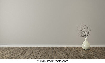 wall background with dry plant for decor